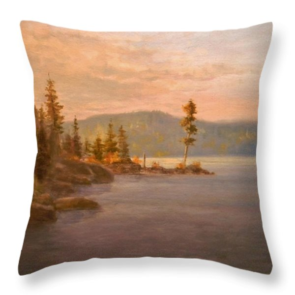 Morning Light on Coeur d'Alene Throw Pillow by Paul K Hill