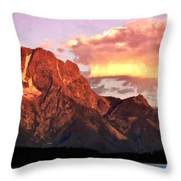 Morning Light on the Tetons Throw Pillow by Marty Koch