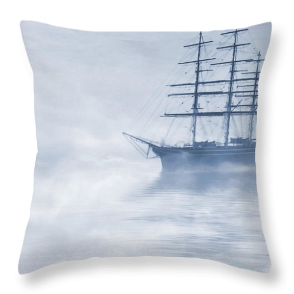 Morning Mists Cyanotype Throw Pillow by John Edwards