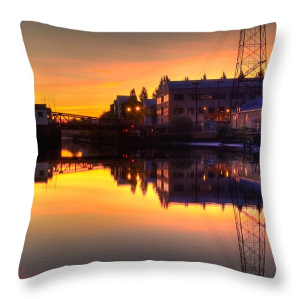 Morning On The River Throw Pillow by Bill Gallagher
