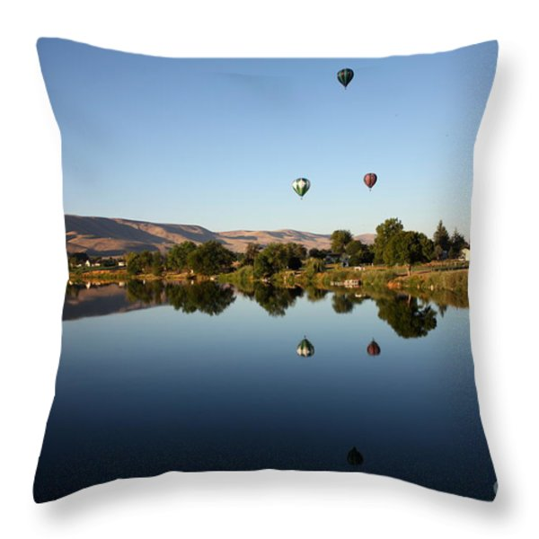 Morning on the Yakima River Throw Pillow by Carol Groenen
