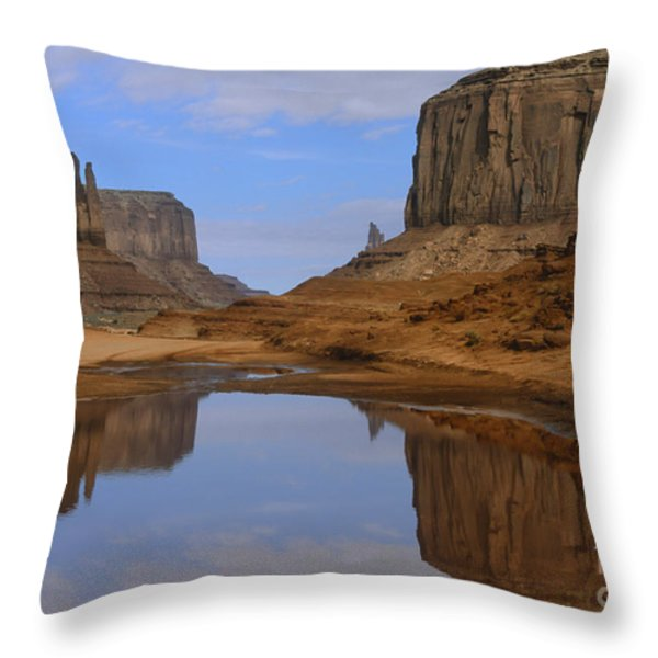 Morning Reflections In Monument Valley Throw Pillow by Sandra Bronstein