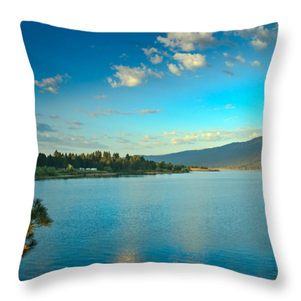 Morning Reflections On Lake Cascade Throw Pillow by Robert Bales