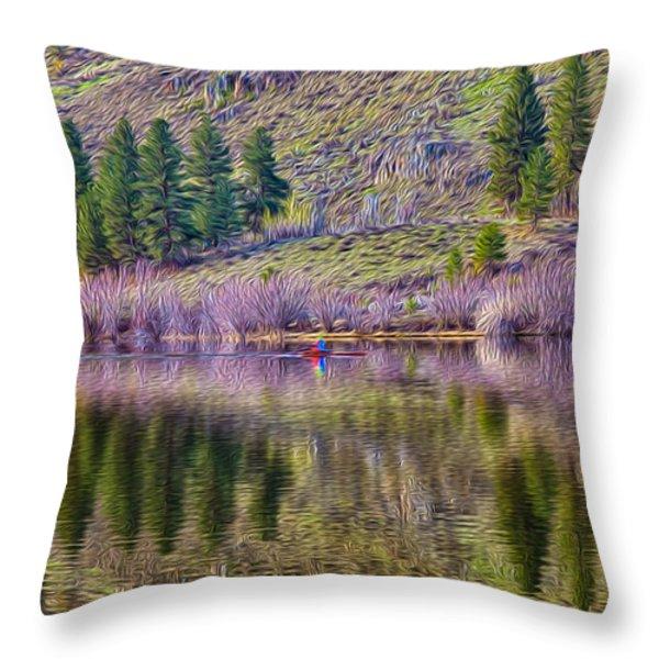 Morning Rowing Throw Pillow by Omaste Witkowski