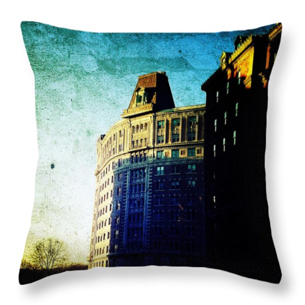 Morningside Heights Blue Throw Pillow by Natasha Marco