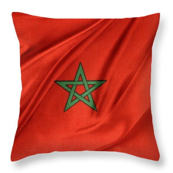 Moroccan Flag Throw Pillow by Les Cunliffe