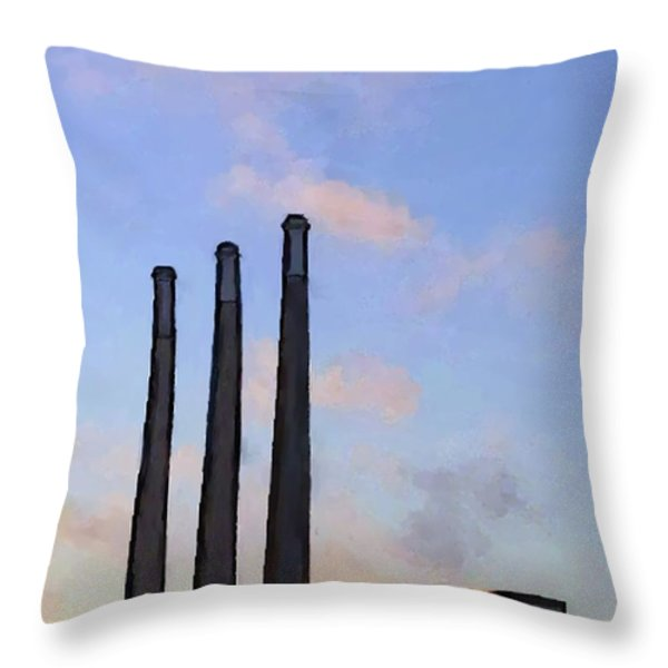 Morro Bay Power Plant Throw Pillow by Methune Hively