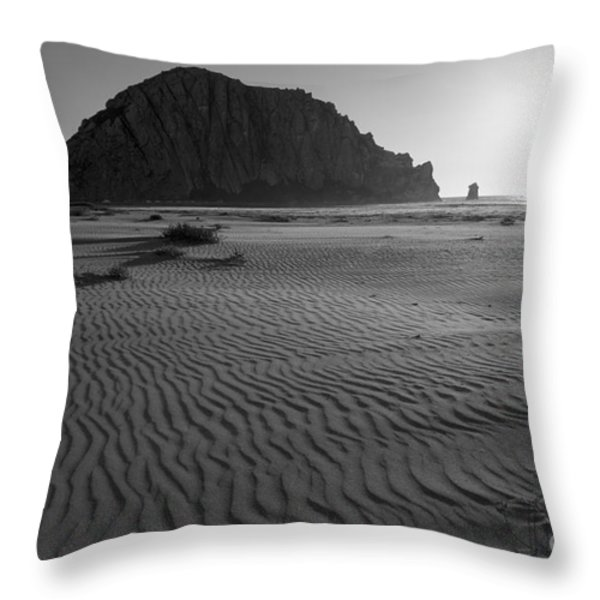 Morro Rock Silhouette Throw Pillow by Terry Garvin