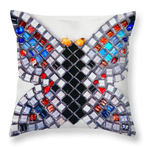 Mosaic Butterfly Throw Pillow by Lisa Brandel