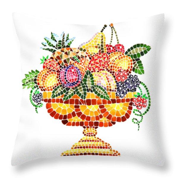 Mosaic Fruit Vase Throw Pillow by Irina Sztukowski