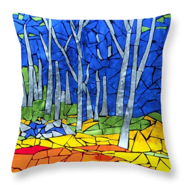 Mosaic Stained Glass - My Woods Throw Pillow by Catherine Van Der Woerd
