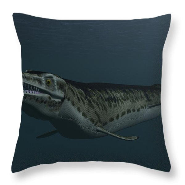 Mosasaur Swimming In Prehistoric Waters Throw Pillow by Kostyantyn Ivanyshen