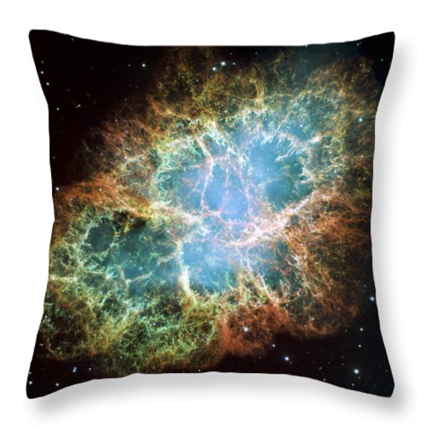 Most detailed image of the Crab Nebula Throw Pillow by Adam Romanowicz