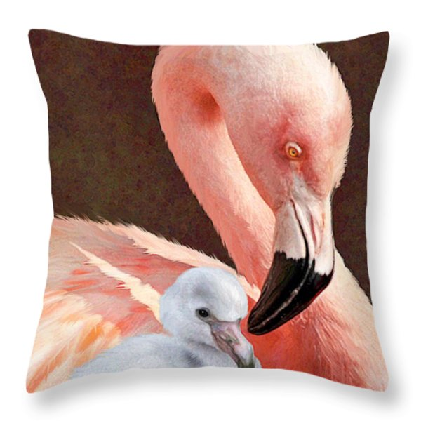 Mother and baby flamingo Throw Pillow by Jane Schnetlage