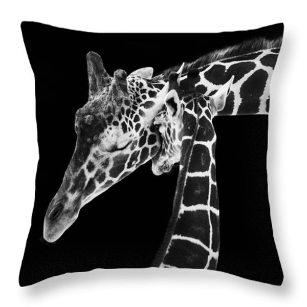 Mother And Baby Giraffe Throw Pillow by Adam Romanowicz