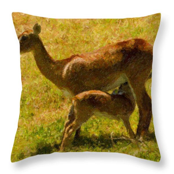 Mother And Child Throw Pillow by Angela Stanton