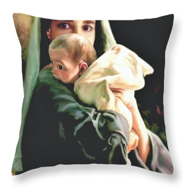 Mother and Child Throw Pillow by Ronald Chambers