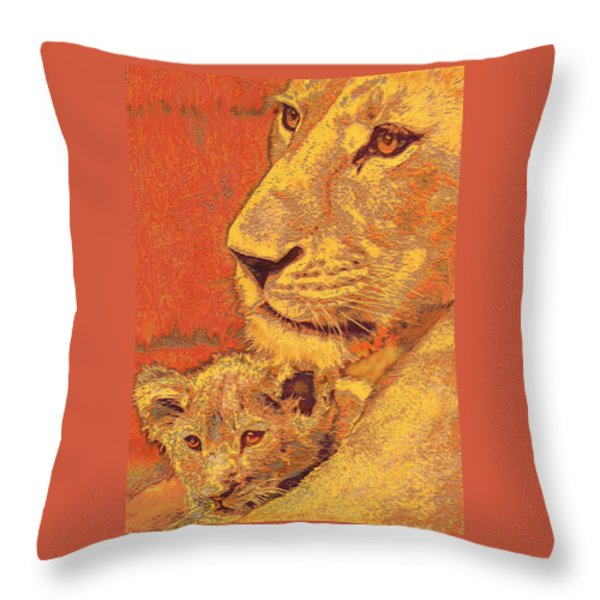 mother and cub Throw Pillow by Jane Schnetlage