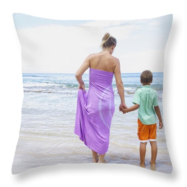 Mother And Son On Beach Throw Pillow by Kicka Witte