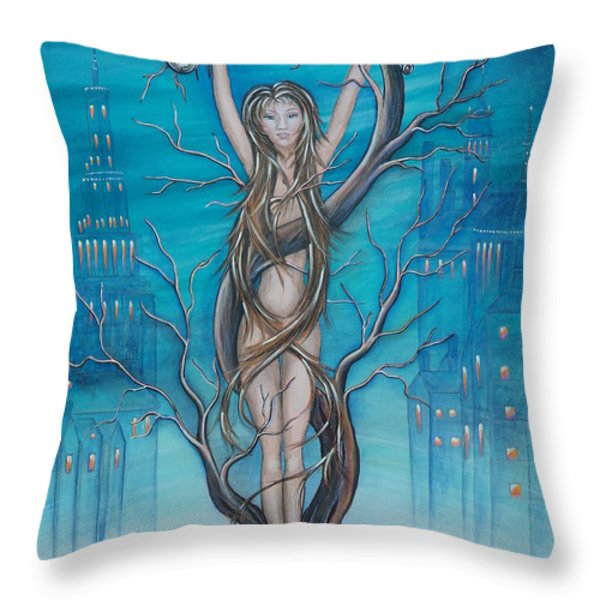Mother Earth Throw Pillow by Krystyna Spink