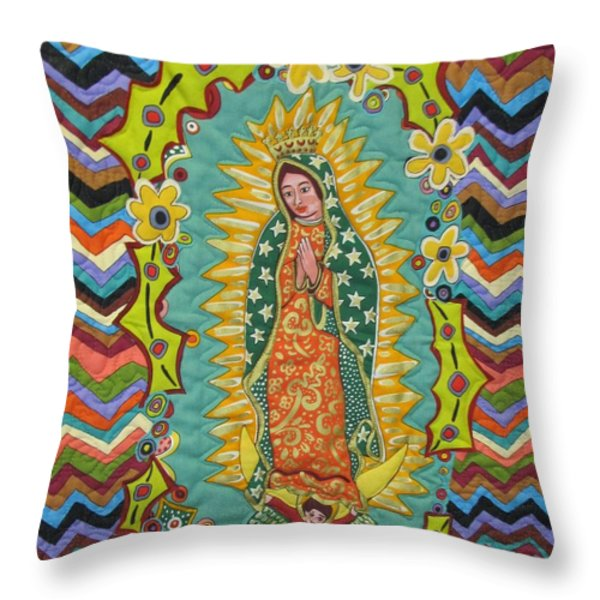 Mother Mary Praying For The Children Throw Pillow by Donna Wilson