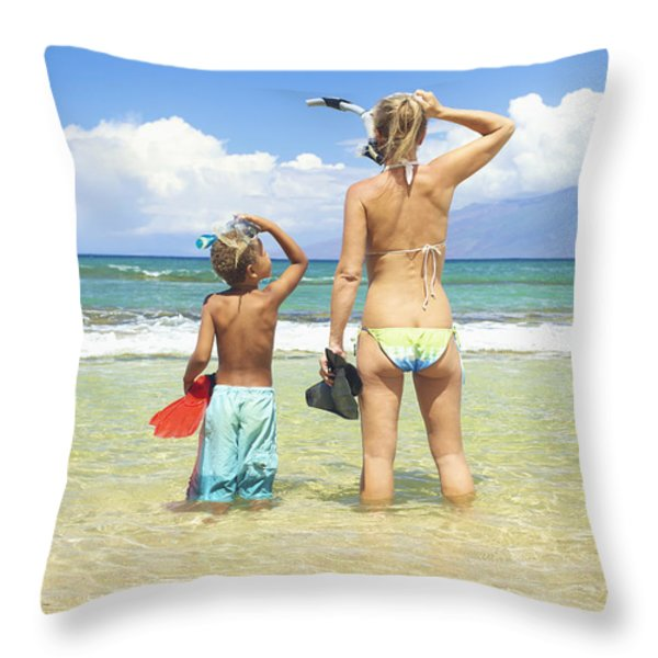 Mother Son Snorkel Throw Pillow by Kicka Witte