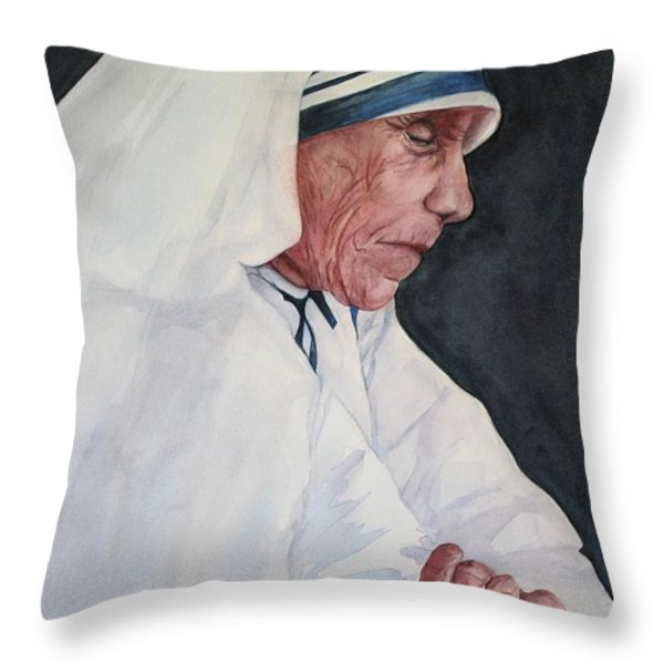 Mother Teresa Throw Pillow by Kyong Burke