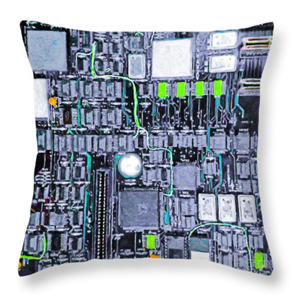Motherboard Abstract 20130716 p38 square Throw Pillow by Wingsdomain Art and Photography