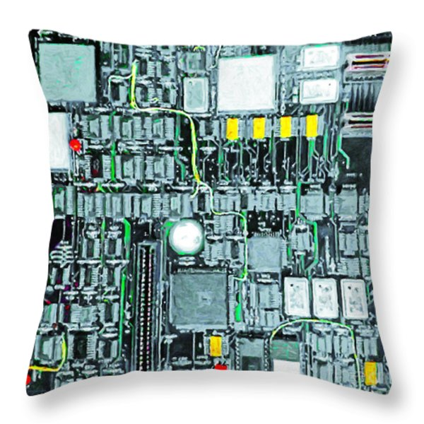 Motherboard Abstract 20130716 square Throw Pillow by Wingsdomain Art and Photography