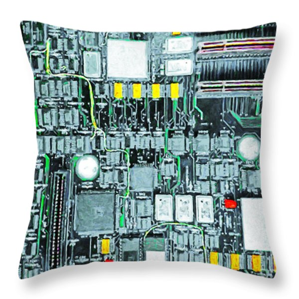 Motherboard Abstract 20130716 Throw Pillow by Wingsdomain Art and Photography