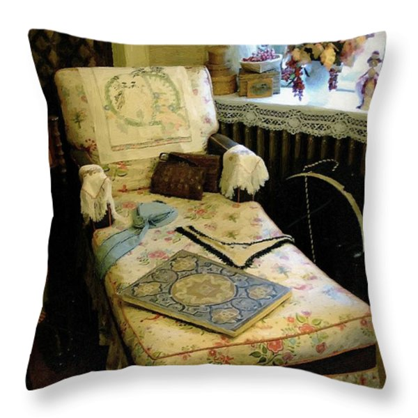 Mother's Chintz Chaise in the Corner Throw Pillow by RC deWinter