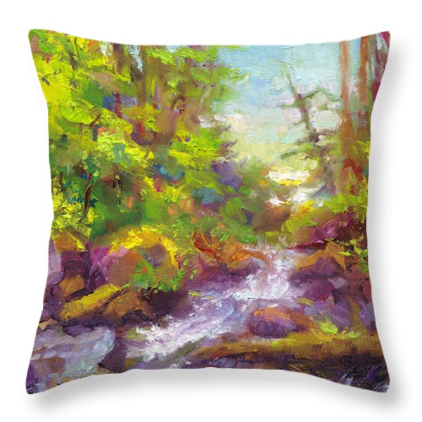 Mother's Day Oasis - Woodland River Throw Pillow by Talya Johnson