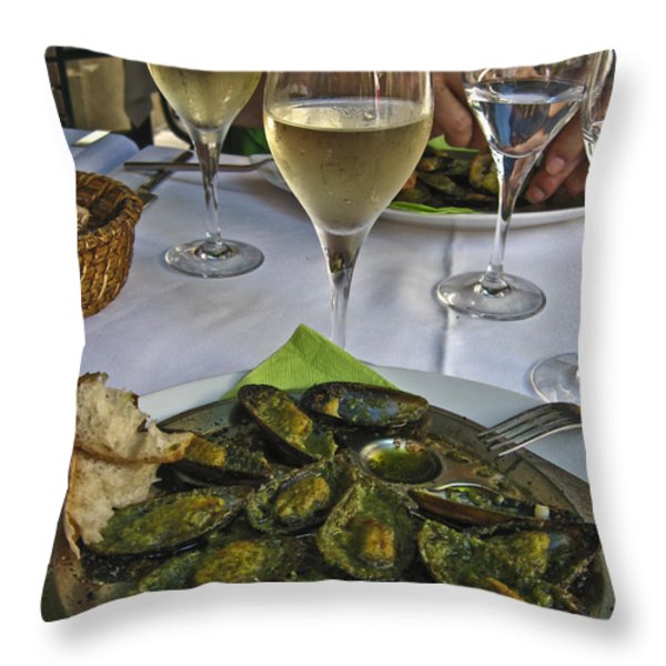 Moules and Chardonnay Throw Pillow by Allen Sheffield