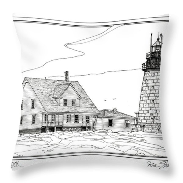 Mount Desert Rock Lighthouse Throw Pillow by Ira Shander