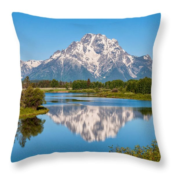 Mount Moran on Snake River Landscape Throw Pillow by Brian Harig