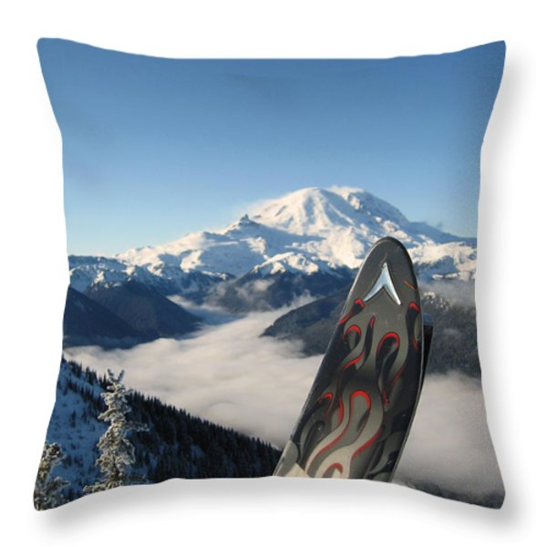 Mount Rainier Has Skis Throw Pillow by Kym Backland