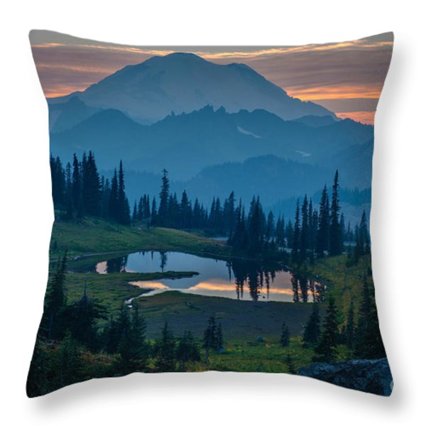 Mount Rainier Layers Throw Pillow by Mike Reid