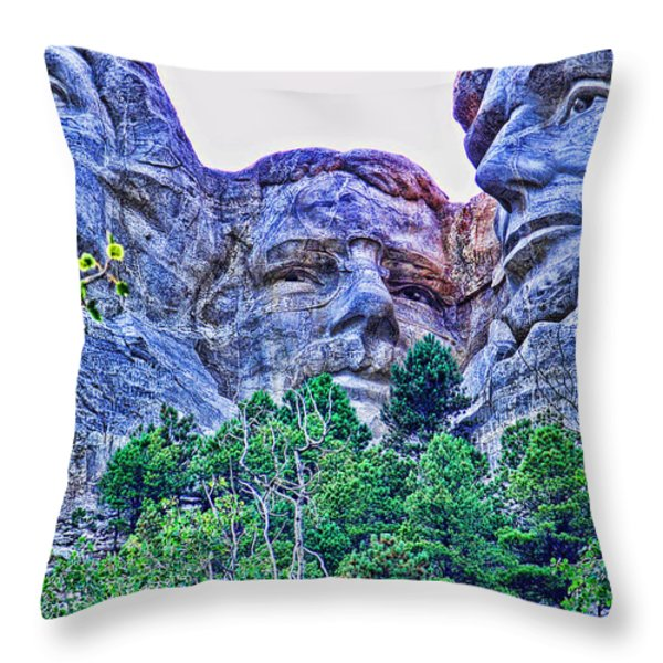 Mount Rushmore Roosevelt Throw Pillow by Tommy Anderson