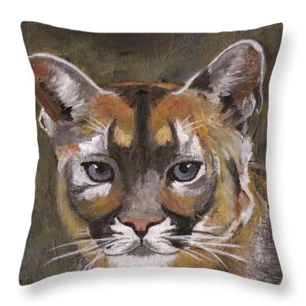 Mountain Cat Throw Pillow by Jamie Frier