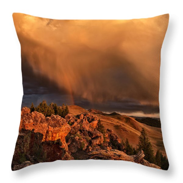 Mountain Drama Throw Pillow by Leland D Howard