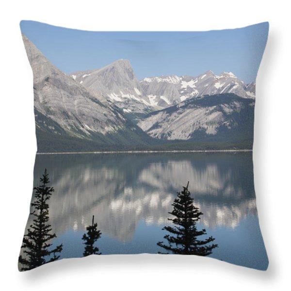 Mountain Lake Reflecting Mountain Range Throw Pillow by Michael Interisano