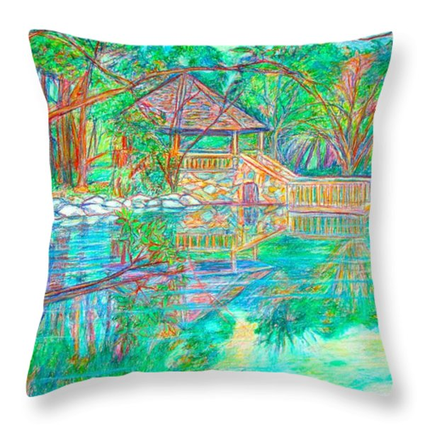 Mountain Lake Reflections Throw Pillow by Kendall Kessler