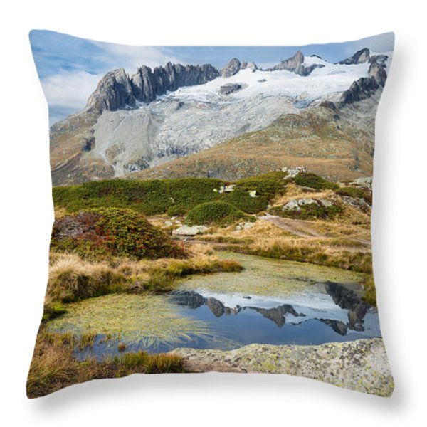 Mountain Landscape Water Reflection Swiss Alps Throw Pillow by Matthias Hauser