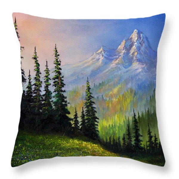 Mountain Morning Throw Pillow by C Steele