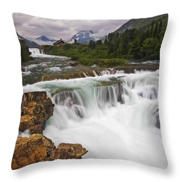 Mountain Paradise Throw Pillow by Mark Kiver