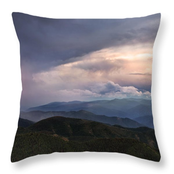 Mountain Storm And Rainbow Throw Pillow by Leland D Howard