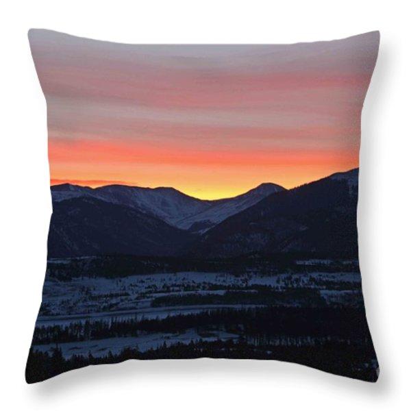 Mountain Sunrise Throw Pillow by Fiona Kennard