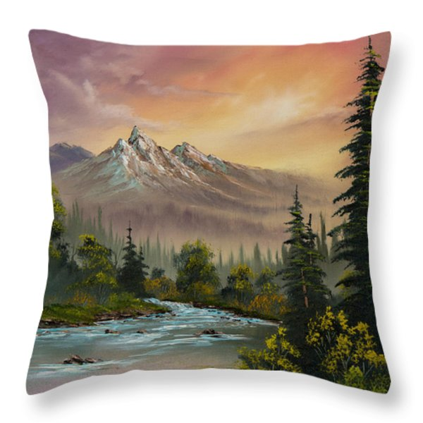 Mountain Sunset Throw Pillow by C Steele