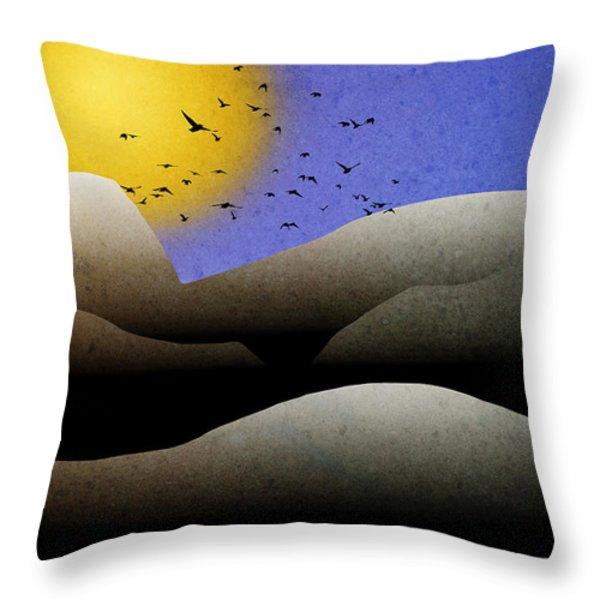 Mountain Sunset Landscape Art Throw Pillow by Christina Rollo