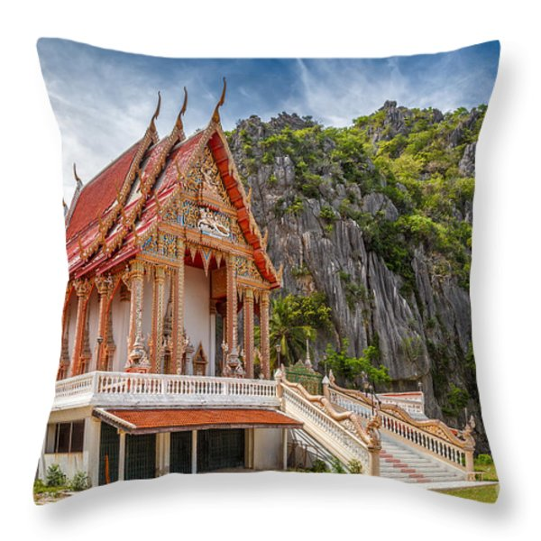 Mountain Temple Throw Pillow by Adrian Evans